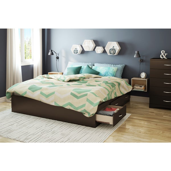 south shore step one king platform bed with 6 drawers