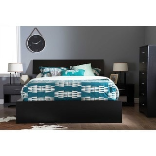 South Shore Step One Ottoman Queen storage bed with headboard