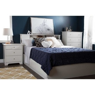 South Shore Furniture Vito Wood Nightstand with Charging Station and Drawers