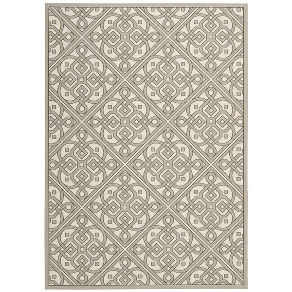 Waverly Sun N' Shade Lace It Up Stone Indoor/ Outdoor Area Rug by Nourison (10' x 13')