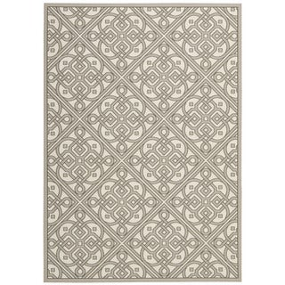 Waverly Sun N' Shade Lace It Up Stone Indoor/ Outdoor Area Rug by Nourison (7'9 x 10'10)