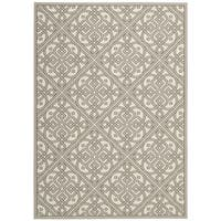 Waverly Sun N' Shade Lace It Up Stone Indoor/ Outdoor Area Rug by Nourison - 7'9 x 10'10