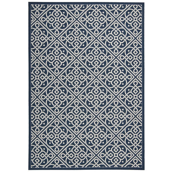 Waverly Sun N' Shade Lace It Up Navy Area Rug by Nourison - 10' x 13'