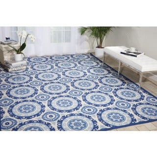 Waverly Sun N' Shade Solar Flair Navy Indoor/ Outdoor Area Rug by Nourison (7'9 x 10'10)