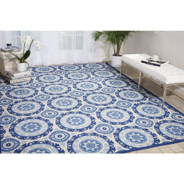 Waverly Sun N' Shade Solar Flair Navy Indoor/ Outdoor Area Rug by Nourison (7'9 x 10'10) - 7'9 x 10'10