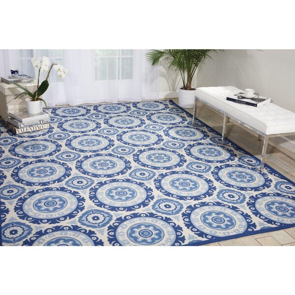 Waverly Sun N' Shade Solar Flair Navy Indoor/ Outdoor Area Rug by Nourison - 10' x 13'