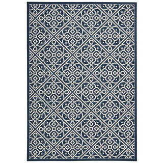 Waverly Sun N' Shade Lace It Up Navy Indoor/Outdoor Area Rug by Nourison (7'9 x 10'10)