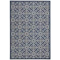 Waverly Sun N' Shade Lace It Up Navy Indoor/Outdoor Area Rug by Nourison - 7'9 x 10'10