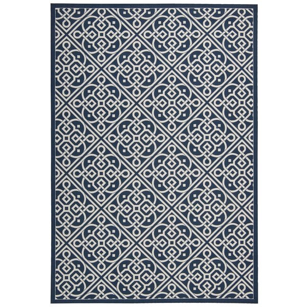 Waverly Sun N' Shade Lace It Up Navy Indoor/Outdoor Area Rug by Nourison