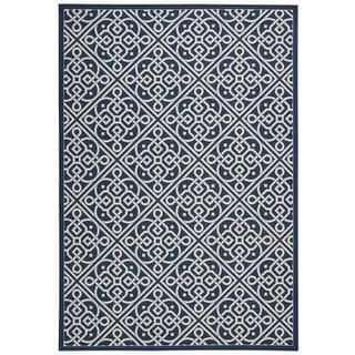 Waverly Sun N' Shade Lace It Up Navy Indoor/ Outdoor Area Rug by Nourison (5'3 x 7'5)