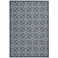 Waverly Sun N' Shade Lace It Up Navy Indoor/ Outdoor Area Rug by Nourison (5'3 x 7'5) - 5'3 x 7'5