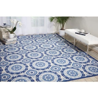 Waverly Sun N' Shade Solar Flair Navy Indoor/ Outdoor Area Rug by Nourison (5'3 x 7'5)
