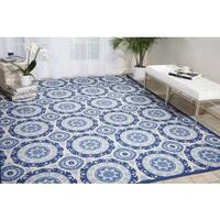 Waverly Sun N' Shade Solar Flair Navy Indoor/ Outdoor Area Rug by Nourison (5'3 x 7'5) - 5'3 x 7'5