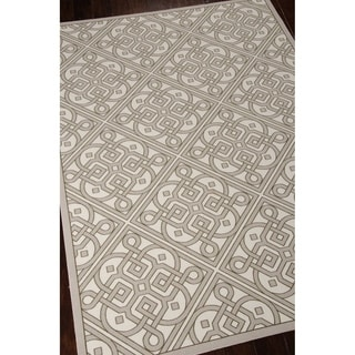 Waverly Sun N' Shade Lace It Up Stone Indoor/ Outdoor Area Rug by Nourison (5'3 x 7'5)