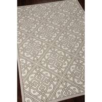 Waverly Sun N' Shade Lace It Up Stone Indoor/ Outdoor Area Rug by Nourison (5'3 x 7'5) - 5'3 x 7'5