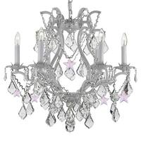 Wrought Iron and Crystal White Chandelier with Pink Crystal Stars