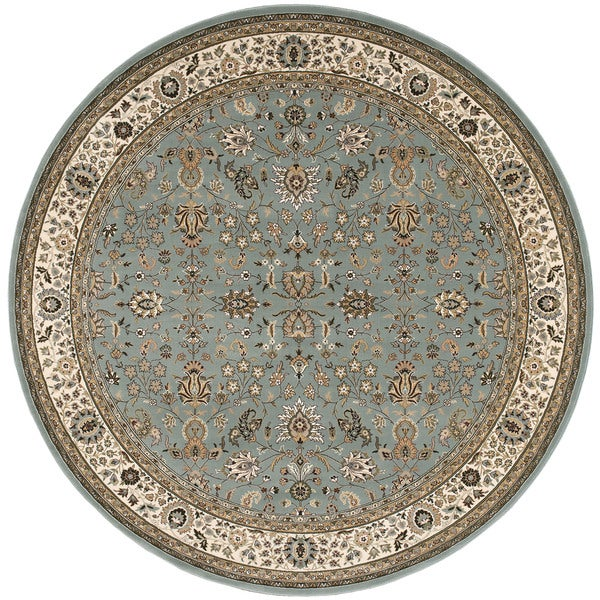 kathy ireland Antiquities Royal Countryside Slate Blue Area Rug by Nourison (5'3 x 5'3) - 5'3 x 5'3