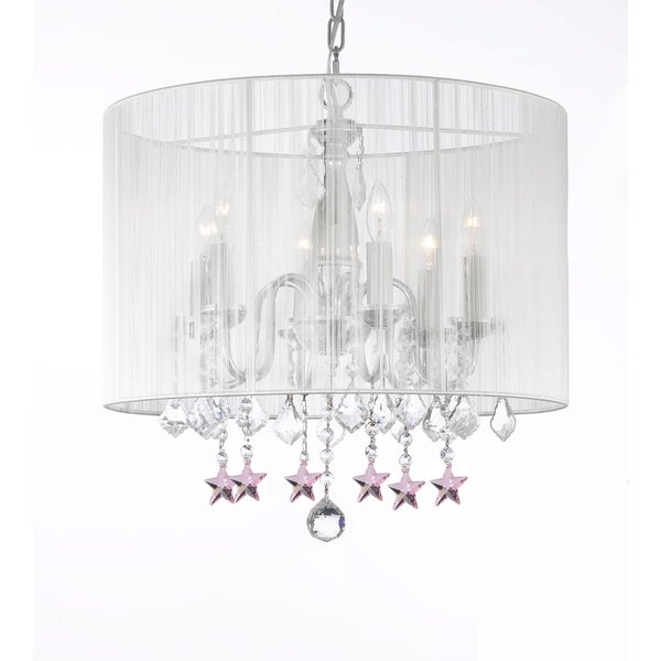 Contemporary Chandelier With Crystal White Shade And Pink Stars Free Shipping Today 10373777