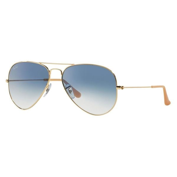 Ray-Ban Aviator RB 3025 Unisex Gold Frame Light Blue Gradient Lens Sunglasses - Gold/Light Blue