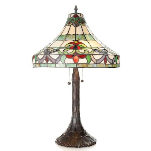 41bdbbd2f78 Claire 2-light Tiffany-style 16-inch Pull Chain Table Lamp