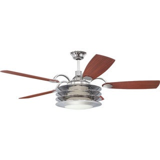 Ellington Rousseau 54-inch Ceiling Fan Chrome Finish, with Reversable Teak/ Walnut blades