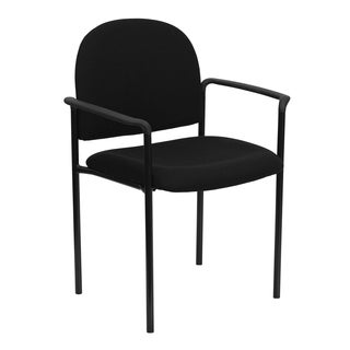 Pagoda Black Upholstered Stack Arm Chairs
