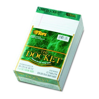 TOPS Docket Ruled White 5 x 8 Perforated Pads (Pack of 12 Pads)