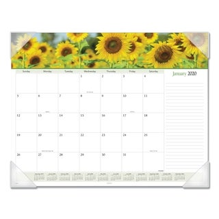 AT-A-GLANCE® Floral Panoramic Desk Pad, 22 x 17, Floral, 2019