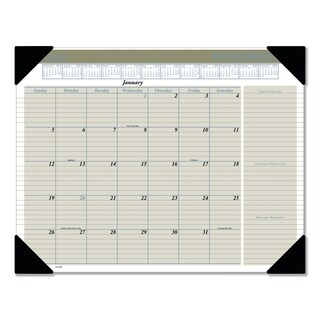 AT-A-GLANCE Executive Monthly Desk Pad Calendar, 22 x 17, Buff, 2018