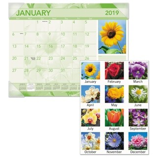 AT-A-GLANCE Antique Floral Monthly Desk Pad Calendar, 22 x 17, Antique Floral, 2018