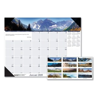 House of Doolittle Recycled Mountains of the World Photo Monthly Desk Pad Calendar, 22 x 17, 2018