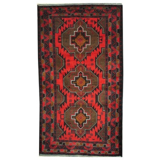 Herat Oriental Afghan Hand-knotted 1970s Semi-antique Tribal Balouchi Red/ Brown Wool Rug (3'10 x 6'