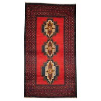 Herat Oriental Afghan Hand-knotted 1960s Semi-antique Tribal Balouchi Wool Rug (3'8 x 6'9) - 3'8 x 6'9