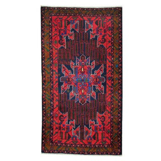 Herat Oriental Afghan Hand-knotted 1960s Semi-antique Tribal Balouchi Wool Rug (3'5 x 6'4)