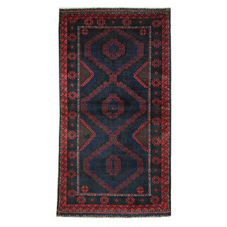 Herat Oriental Afghan Hand-knotted 1970s Semi-antique Tribal Balouchi Blue/ Red Wool Rug (3'5 x 6'6)