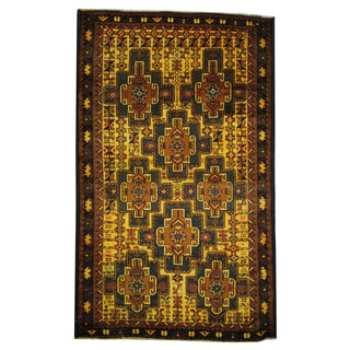 Herat Oriental Semi-Antique Afghan Hand-knotted Tribal Balouchi Gold/ Black Wool Rug (4' x 6'7)