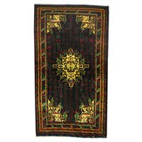 Herat Oriental Afghan Hand-knotted 1960s Semi-antique Tribal Balouchi Wool Rug - 3'6 x 6'4