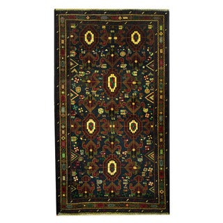 Herat Oriental Afghan Hand-knotted 1960s Semi-antique Tribal Balouchi Wool Rug (3'6 x 6'3)