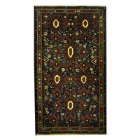Herat Oriental Afghan Hand-knotted 1960s Semi-antique Tribal Balouchi Wool Rug - 3'6 x 6'3