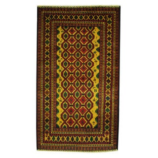 Herat Oriental Afghan Hand-knotted 1960s Semi-antique Tribal Balouchi Wool Rug (3'6 x 6'2)