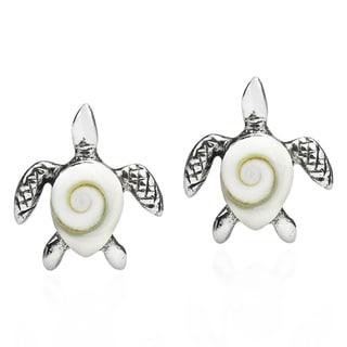 Handmade Sea Turtle Shiva Swirl Shell .925 Silver Post Earrings (Thailand)