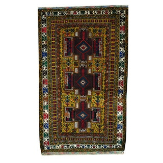 Herat Oriental Afghan Hand-knotted 1960s Semi-antique Tribal Balouchi Wool Rug (3'9 x 6'3)