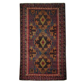 Herat Oriental Afghan Hand-knotted 1960s Semi-antique Tribal Balouchi Wool Rug (3'9 x 6'5)