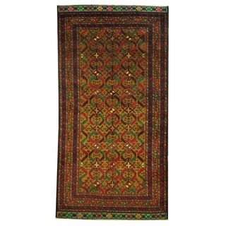 Herat Oriental Afghan Hand-knotted 1960s Semi-antique Tribal Balouchi Wool Rug (3'6 x 6'1)