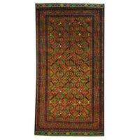Herat Oriental Afghan Hand-knotted 1960s Semi-antique Tribal Balouchi Wool Rug - 3'6 x 6'1
