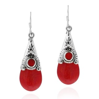 Coral Teardrop .925 Sterling Silver Dangle Earrings (Thailand)