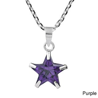 Wishing Star Cubic Zirconia .925 Sterling Silver Necklace (Thailand)