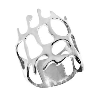 Sleek Synthetic Coral Reef Design Sterling Silver Wide Ring Thailand