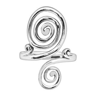 Handmade Fashion Double Hypnotic Swirl Sterling Silver Ring (Thailand)