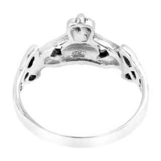 Handmade Enduring Love Celtic Heart Claddagh Sterling Silver Ring (Thailand)
